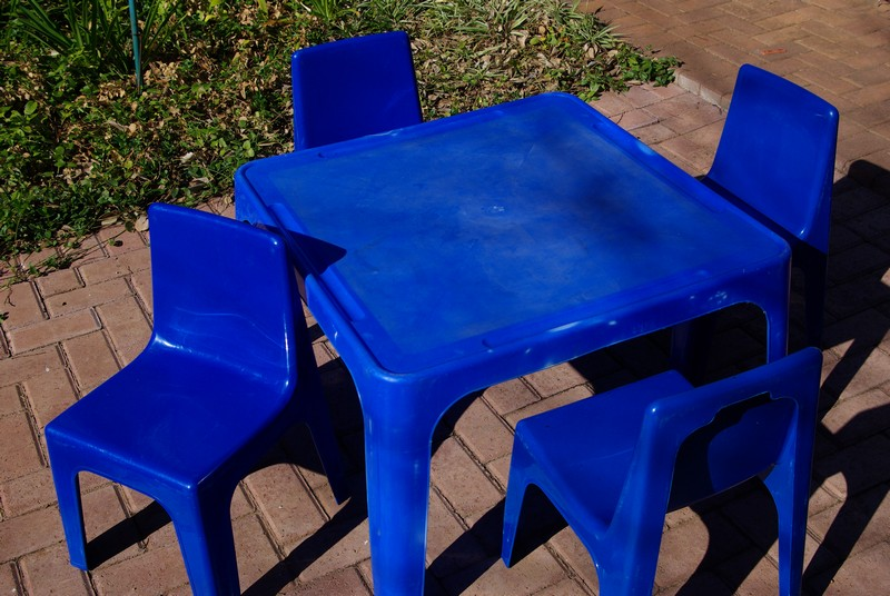 tables and chairs (blue) for party hire bloemfontein