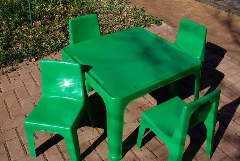 tables and chairs (green) for party hire bloemfontein