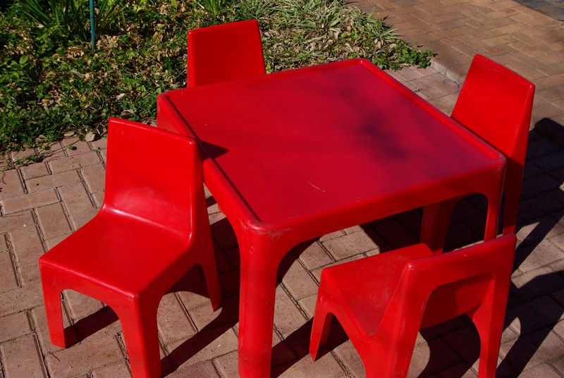 tables and chairs (red) for party hire bloemfontein
