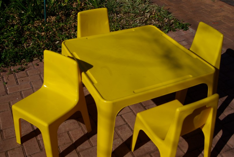 tables and chairs (yellow) for party hire bloemfontein